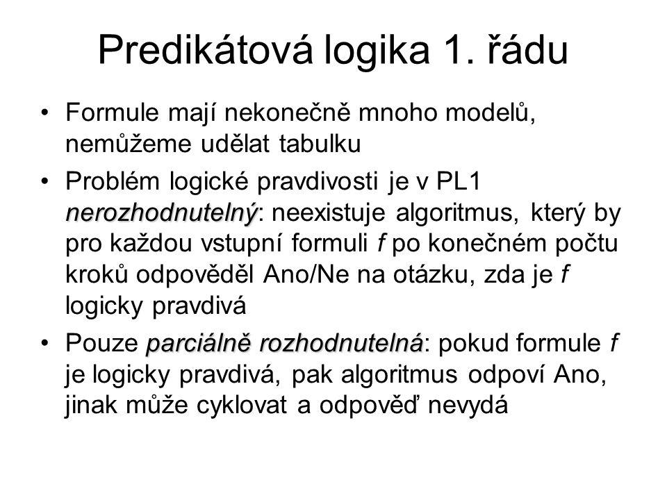 Predikátová logika 1. řádu Formule mají nekonečně mnoho modelů, nemůžeme udělat tabulku nerozhodnutelnýProblém logické pravdivosti je v PL1 nerozhodnu