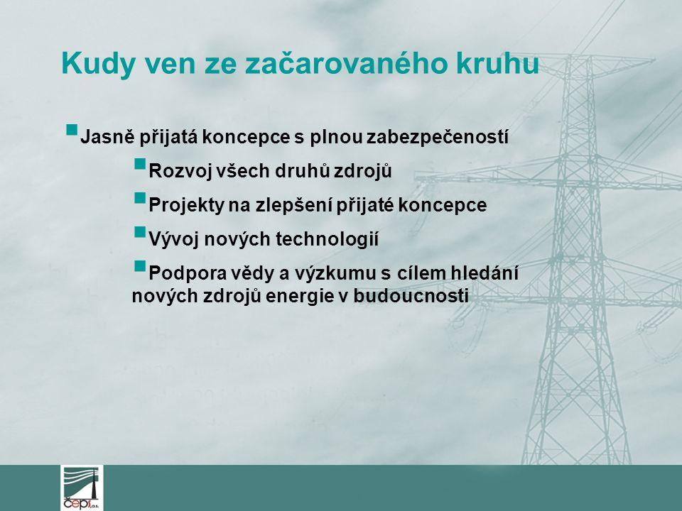 Kudy ven ze začarovaného kruhu  Jasně přijatá koncepce s plnou zabezpečeností  Rozvoj všech druhů zdrojů  Projekty na zlepšení přijaté koncepce  Vývoj nových technologií  Podpora vědy a výzkumu s cílem hledání nových zdrojů energie v budoucnosti