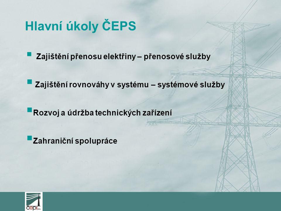 Hlavní úkoly ČEPS  Zajištění přenosu elektřiny – přenosové služby  Zajištění rovnováhy v systému – systémové služby  Rozvoj a údržba technických zařízení  Zahraniční spolupráce