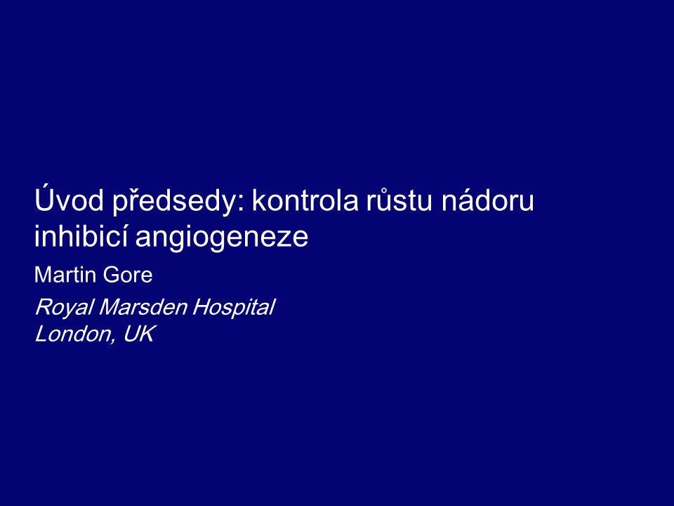 Program Kontrola růstu nádoru inhibicí angiogenezeMartin Gore Léčebné strategie u kolorektálního karcinomuCornelis Punt Antiangiogenní léky - optimalizace léčby nemocných s metastatickým karcinomem prsu Rebecca Dent Anti-VEGF: inovace léčby NSCLCRomán Pérez-Soler Nové přístupy v léčbě maligních gliomůJeffrey Raizer Aktuální data: anti-angiogeneze v primární léčbě karcinomu vaječníků Robert Burger ZávěrMartin Gore