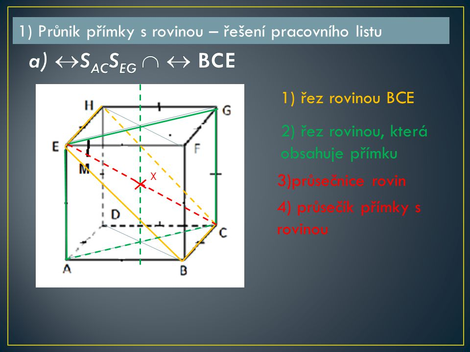 1) řez rovinou BCE 2) řez rovinou, která obsahuje přímku 3)průsečnice rovin 4) průsečík přímky s rovinou X 1) Průnik přímky s rovinou – řešení pracovního listu