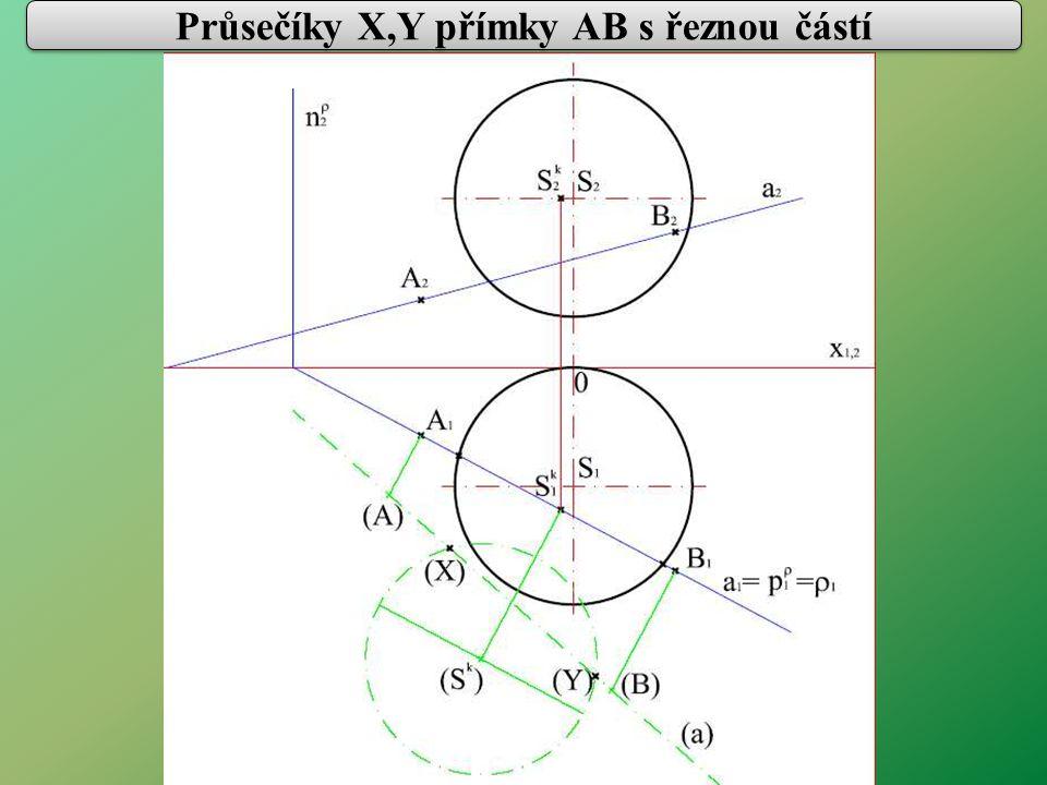 Průsečíky X,Y přímky AB s řeznou částí