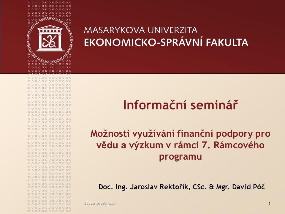 Zápatí prezentace1 Informační seminář Možnosti využívání finanční podpory pro vědu a výzkum v rámci 7. Rámcového programu Doc. Ing. Jaroslav Rektořík,
