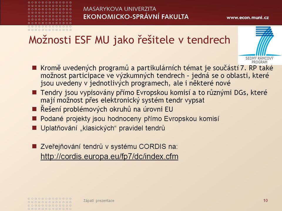 www.econ.muni.cz Zápatí prezentace10 Možnosti ESF MU jako řešitele v tendrech Kromě uvedených programů a partikulárních témat je součástí 7. RP také m