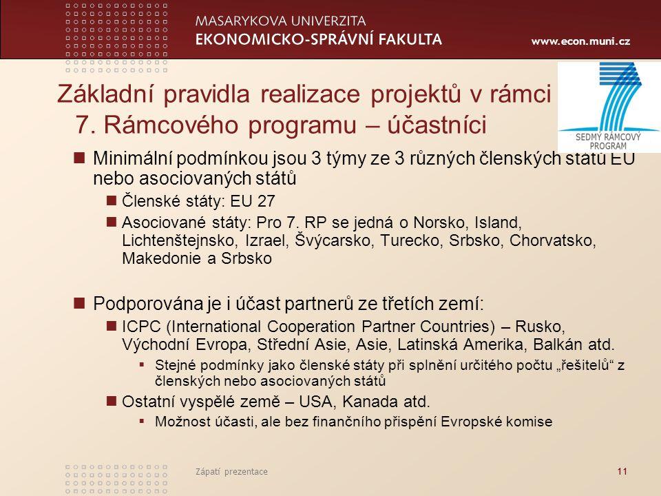 www.econ.muni.cz Zápatí prezentace11 Základní pravidla realizace projektů v rámci 7. Rámcového programu – účastníci Minimální podmínkou jsou 3 týmy ze
