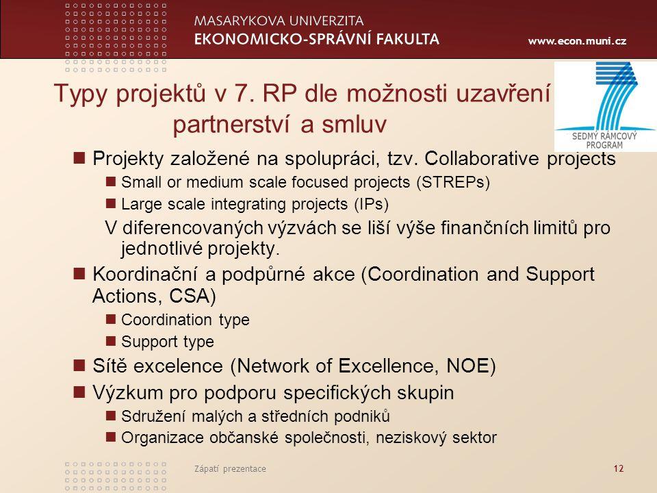 www.econ.muni.cz Zápatí prezentace12 Typy projektů v 7. RP dle možnosti uzavření partnerství a smluv Projekty založené na spolupráci, tzv. Collaborati