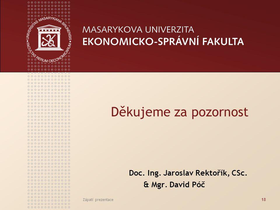 Zápatí prezentace18 Děkujeme za pozornost Doc. Ing. Jaroslav Rektořík, CSc. & Mgr. David Póč
