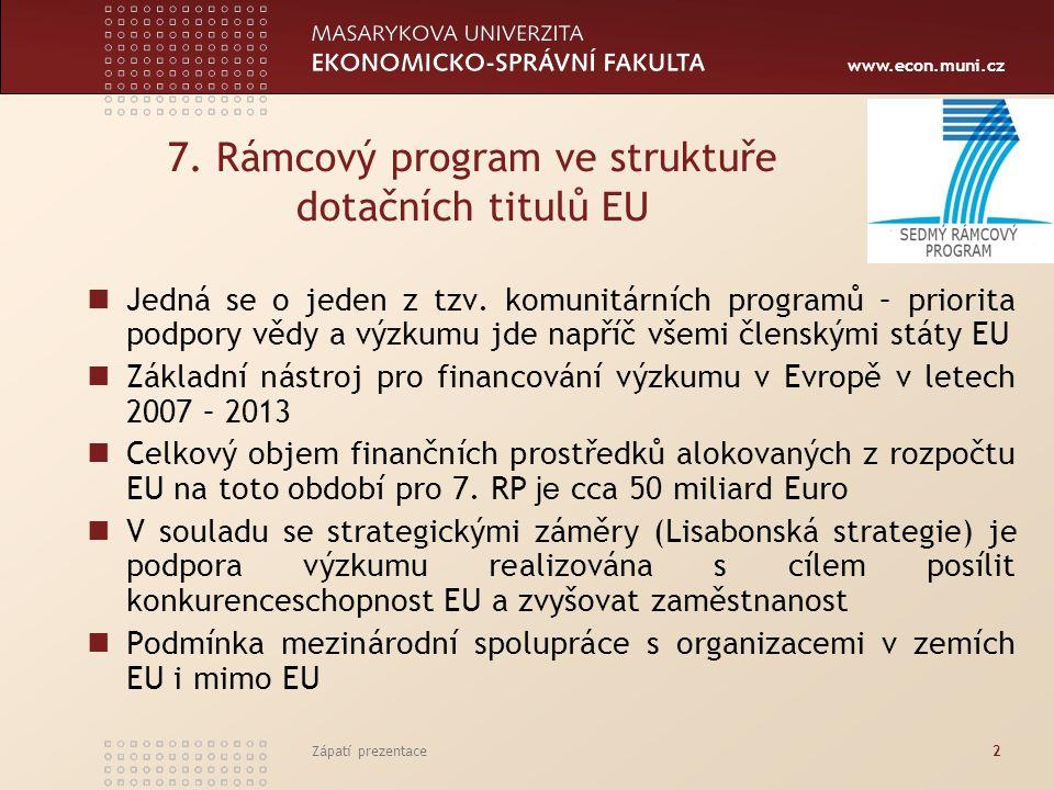 www.econ.muni.cz Zápatí prezentace2 7. Rámcový program ve struktuře dotačních titulů EU Jedná se o jeden z tzv. komunitárních programů – priorita podp