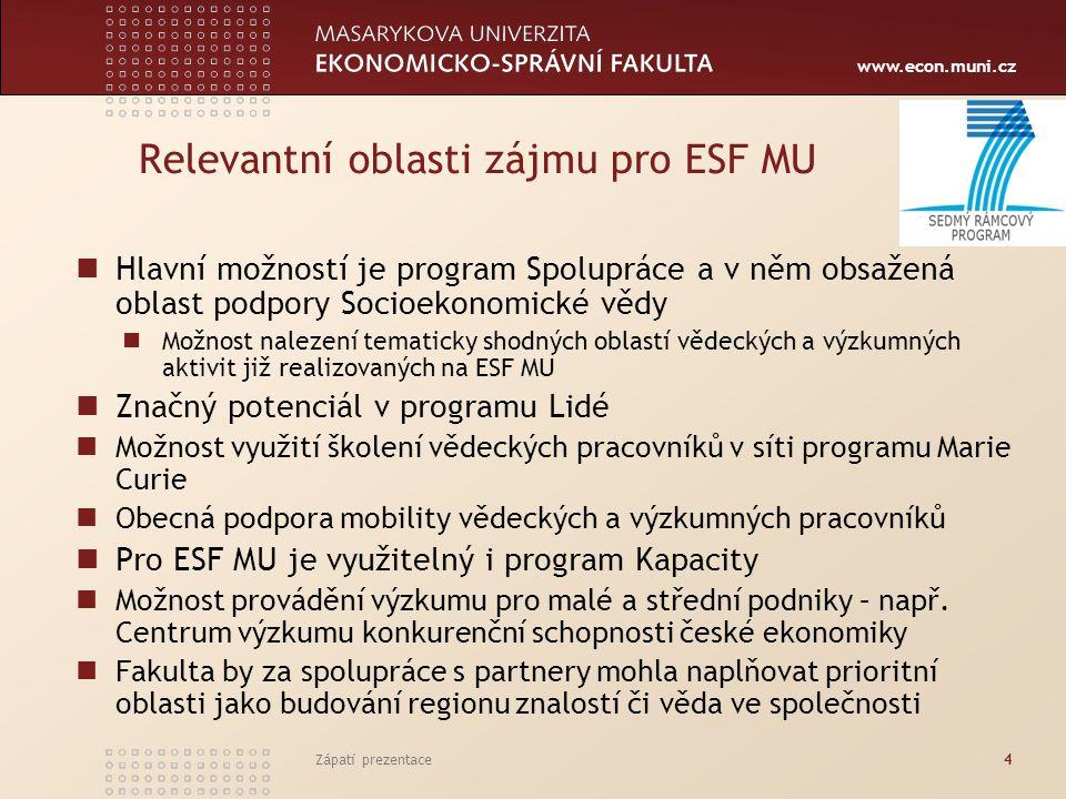www.econ.muni.cz Zápatí prezentace4 Relevantní oblasti zájmu pro ESF MU Hlavní možností je program Spolupráce a v něm obsažená oblast podpory Socioeko