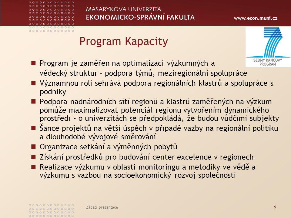 www.econ.muni.cz Zápatí prezentace9 Program Kapacity Program je zaměřen na optimalizaci výzkumných a vědecký struktur – podpora týmů, meziregionální s