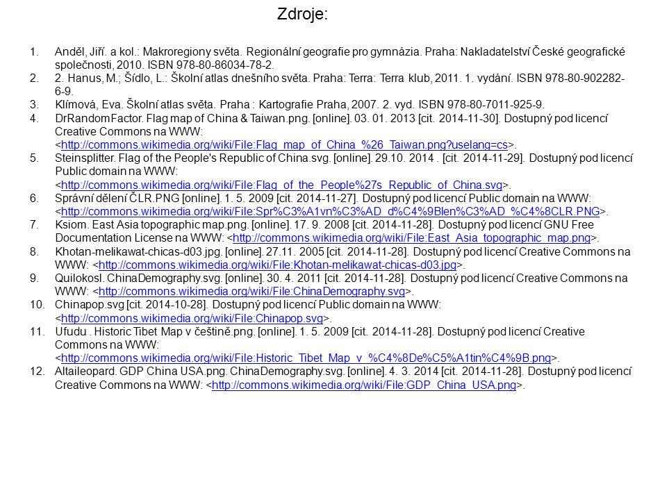 1.Anděl, Jiří. a kol.: Makroregiony světa. Regionální geografie pro gymnázia. Praha: Nakladatelství České geografické společnosti, 2010. ISBN 978-80-8