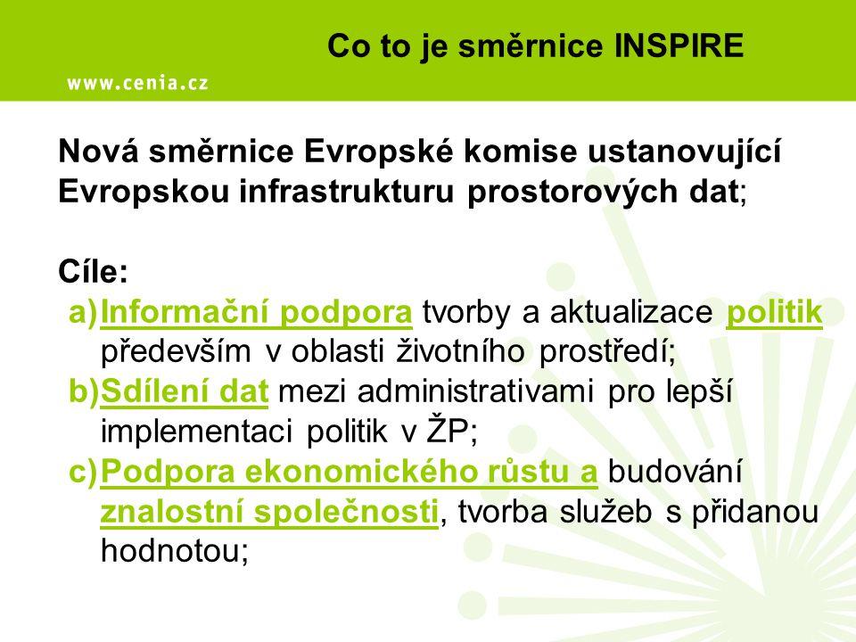 Co to je směrnice INSPIRE Nová směrnice Evropské komise ustanovující Evropskou infrastrukturu prostorových dat; Cíle: a)Informační podpora tvorby a ak