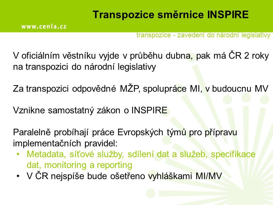 Implementace INSPIRE Připravovaná Implementační strategie INSPIRE v ČR: Společně s transpozicí směrnice vznikne implementační plán, který vytýčí cestu, jak splnit do roku 2013 následující cíle: a)fungující trh s geoinformacemi b)právní prostředí vycházející z transpozice směrnice c)informovaná a vzdělaná odborná i laická veřejnost d)komunikační kanály mezi producenty a poskytovateli dat a služeb a jejich uživateli e)funkční národní geoportál, přímá návaznost na Evropský geoportál