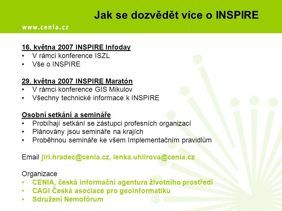 Jak se dozvědět více o INSPIRE 16. května 2007 INSPIRE Infoday V rámci konference ISZL Vše o INSPIRE 29. května 2007 INSPIRE Maratón V rámci konferenc
