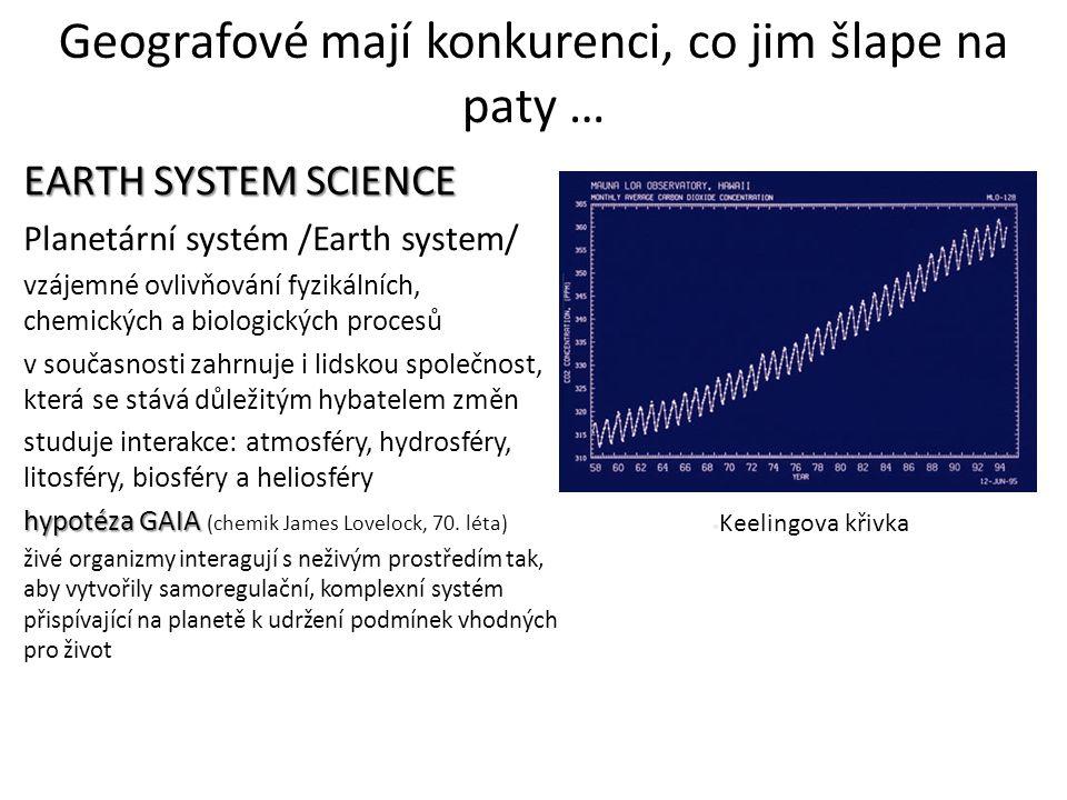 Geografové mají konkurenci, co jim šlape na paty … EARTH SYSTEM SCIENCE Planetární systém /Earth system/ vzájemné ovlivňování fyzikálních, chemických
