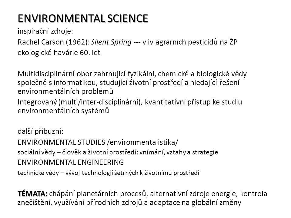 ENVIRONMENTAL SCIENCE inspirační zdroje: Rachel Carson (1962): Silent Spring --- vliv agrárních pesticidů na ŽP ekologické havárie 60. let Multidiscip