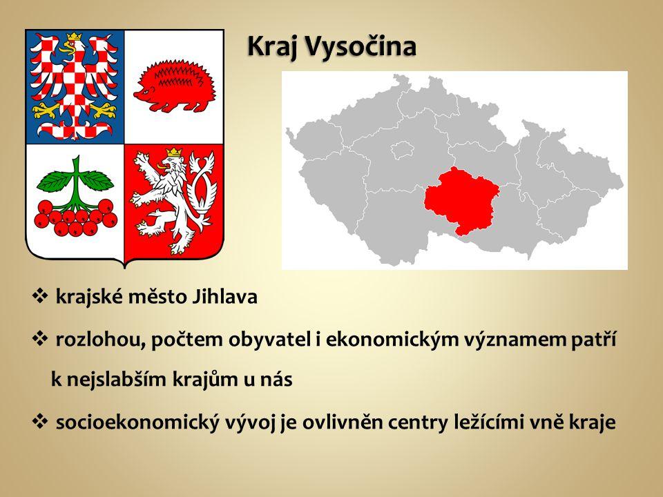  rozlohou, počtem obyvatel i ekonomickým významem patří k nejslabším krajům u nás  krajské město Jihlava  socioekonomický vývoj je ovlivněn centry ležícími vně kraje