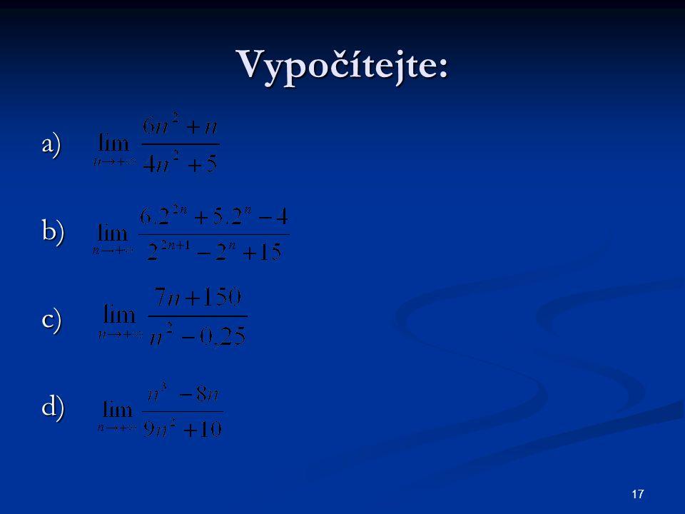 17 Vypočítejte: a)b)c)d)