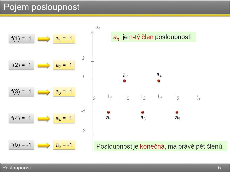 Pojem posloupnost Posloupnost 5 n 045123 1 2 -2 anan f(1) = -1 a 1 = -1 a1a1 a2a2 a3a3 a4a4 a5a5 f(2) = 1 a 2 = 1 f(3) = -1 a 3 = -1 f(4) = 1 a 4 = 1 f(5) = -1 a 5 = -1 a n je n-tý člen posloupnosti Posloupnost je konečná, má právě pět členů.