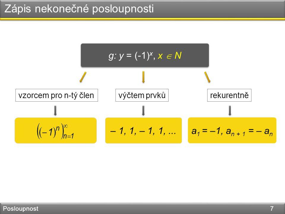 Zápis nekonečné posloupnosti Posloupnost 7 g: y = (-1) x, x  N – 1, 1, – 1, 1,...