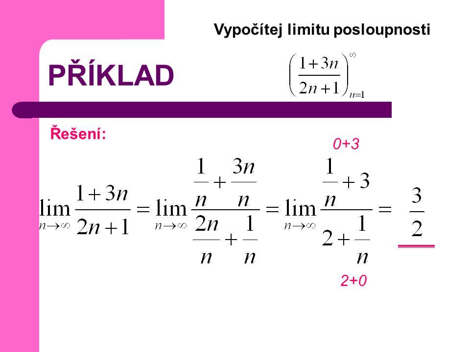 PŘÍKLAD Vypočítej limitu posloupnosti Řešení: 0+3 2+0