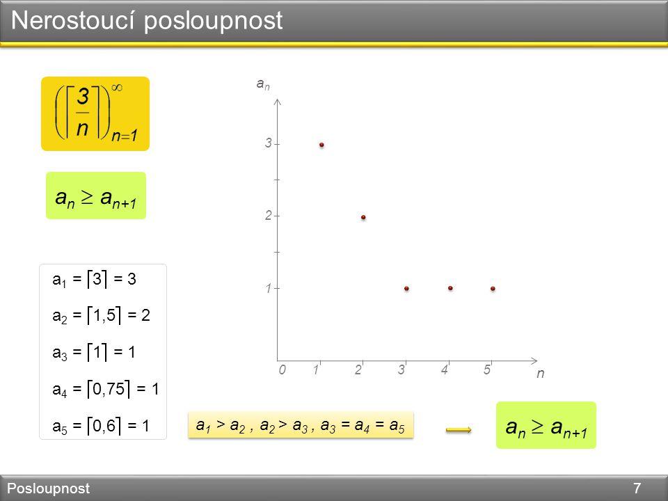 Nerostoucí posloupnost Posloupnost 7 n 045123 1 2 anan 3 a 1 =  3  = 3 a 2 =  1,5  = 2 a 3 =  1  = 1 a 4 =  0,75  = 1 a 5 =  0,6  = 1 a 1 > a 2, a 2 > a 3, a 3 = a 4 = a 5 a n  a n+1