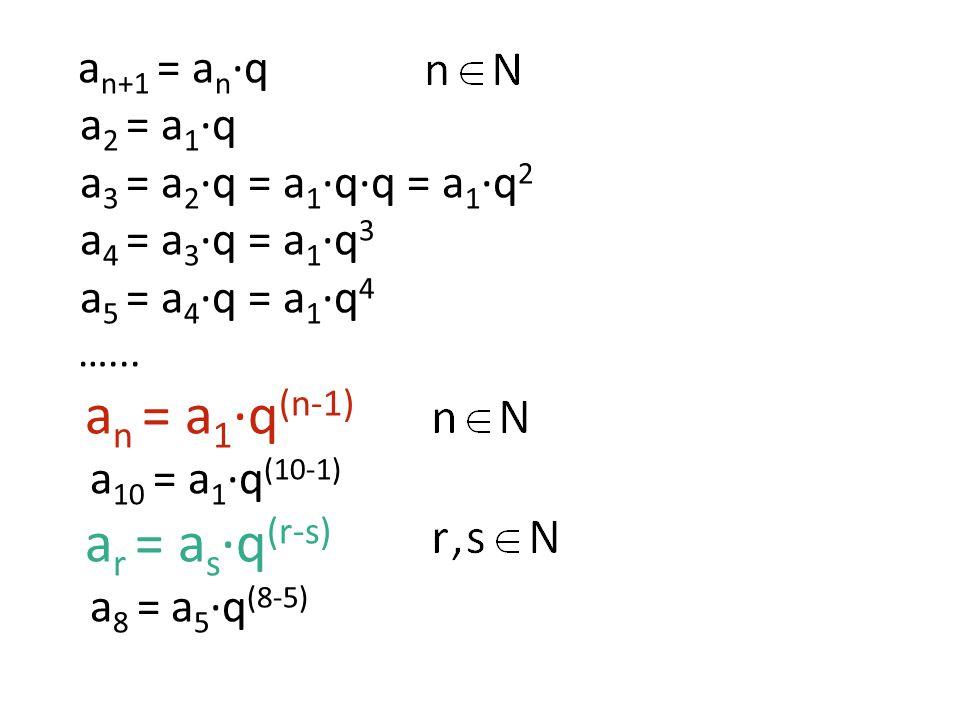 Zapište prvních pět členů geometrické posloupnosti: 1)a 1 = 3; q = 0,5 a 2 = 3·0,5 = 1,5 a 3 = 1,5·0,5 = 0,75 a 4 = 0,75·0,5 = 0,375 a 5 = 0,375·0,5 = 0,1875 2)a 1 = −4; q = 3 −4; −12; −36; −108; −324