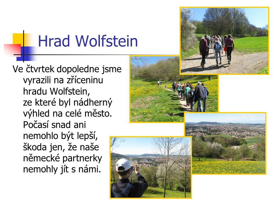 Hrad Wolfstein Ve čtvrtek dopoledne jsme vyrazili na zříceninu hradu Wolfstein, ze které byl nádherný výhled na celé město. Počasí snad ani nemohlo bý