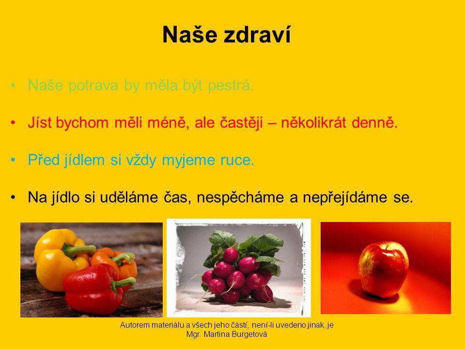 Jak říkáme jídlu, které jíme: ráno ____________________ odpoledne ________________ dopoledne _______________ večer ____________________ v poledne ________________ Autorem materiálu a všech jeho částí, není-li uvedeno jinak, je Mgr.