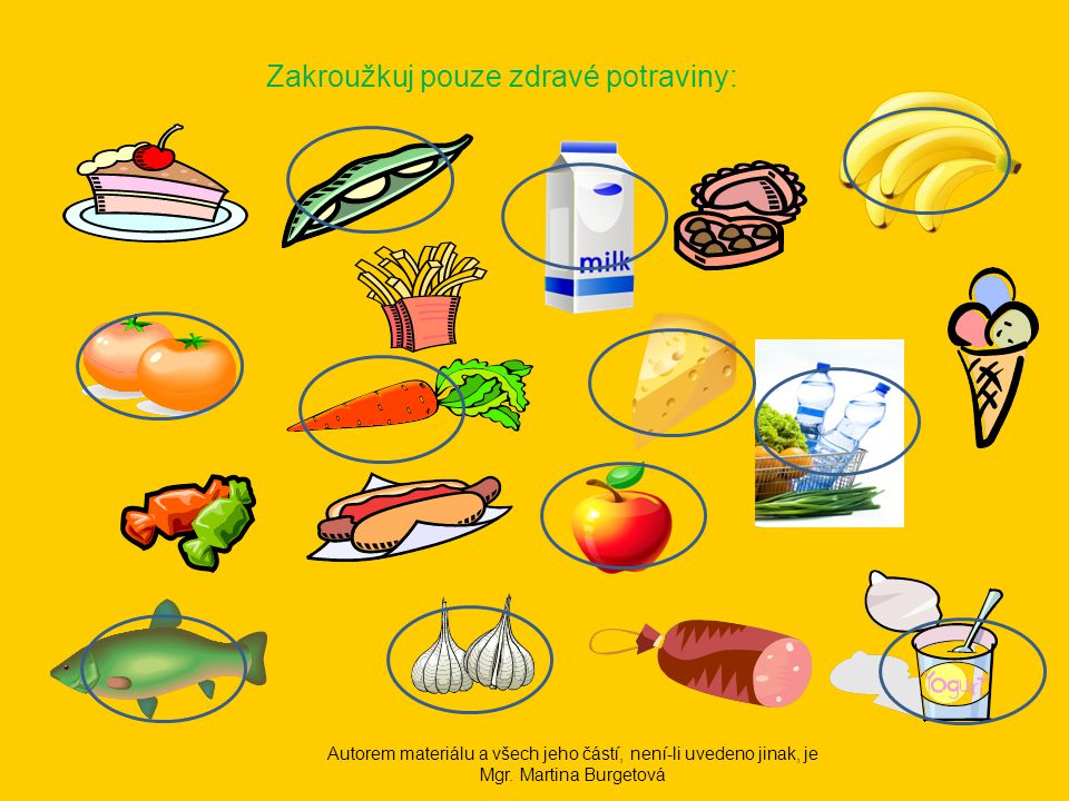 Zakroužkuj pouze zdravé potraviny: Autorem materiálu a všech jeho částí, není-li uvedeno jinak, je Mgr.