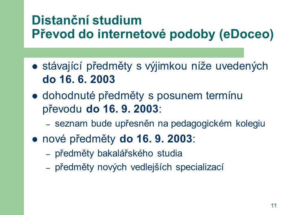 11 Distanční studium Převod do internetové podoby (eDoceo) stávající předměty s výjimkou níže uvedených do 16. 6. 2003 dohodnuté předměty s posunem te