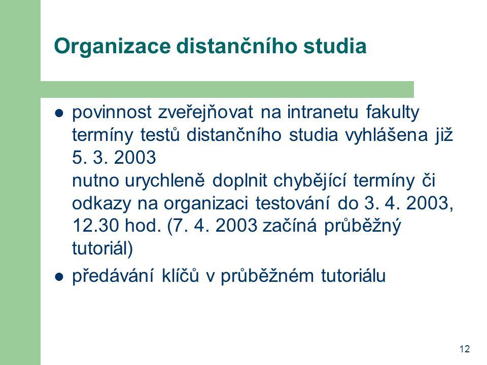 12 Organizace distančního studia povinnost zveřejňovat na intranetu fakulty termíny testů distančního studia vyhlášena již 5. 3. 2003 nutno urychleně