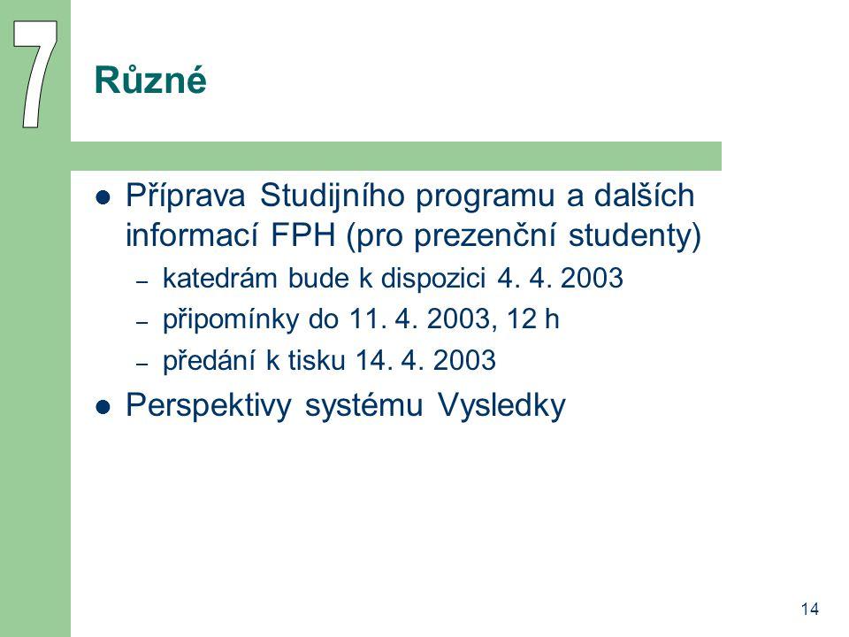 14 Různé Příprava Studijního programu a dalších informací FPH (pro prezenční studenty) – katedrám bude k dispozici 4. 4. 2003 – připomínky do 11. 4. 2