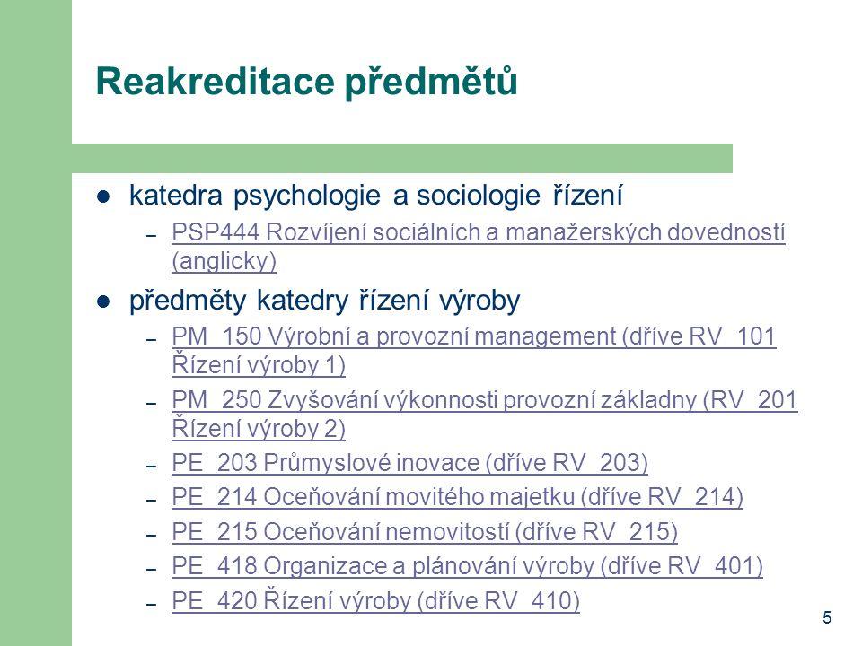 5 Reakreditace předmětů katedra psychologie a sociologie řízení – PSP444 Rozvíjení sociálních a manažerských dovedností (anglicky) PSP444 Rozvíjení so