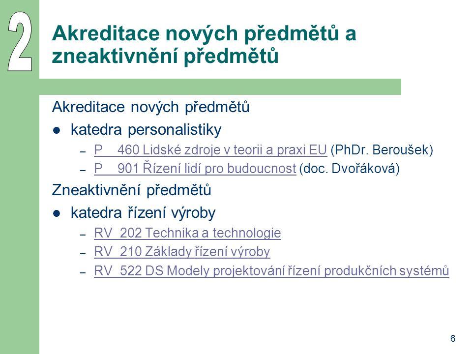 6 Akreditace nových předmětů a zneaktivnění předmětů Akreditace nových předmětů katedra personalistiky – P__460 Lidské zdroje v teorii a praxi EU (PhD