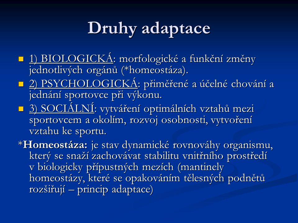 Druhy adaptace 1) BIOLOGICKÁ: morfologické a funkční změny jednotlivých orgánů (*homeostáza). 1) BIOLOGICKÁ: morfologické a funkční změny jednotlivých