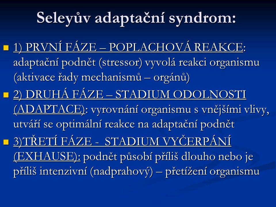 Seleyův adaptační syndrom: 1) PRVNÍ FÁZE – POPLACHOVÁ REAKCE: adaptační podnět (stressor) vyvolá reakci organismu (aktivace řady mechanismů – orgánů)