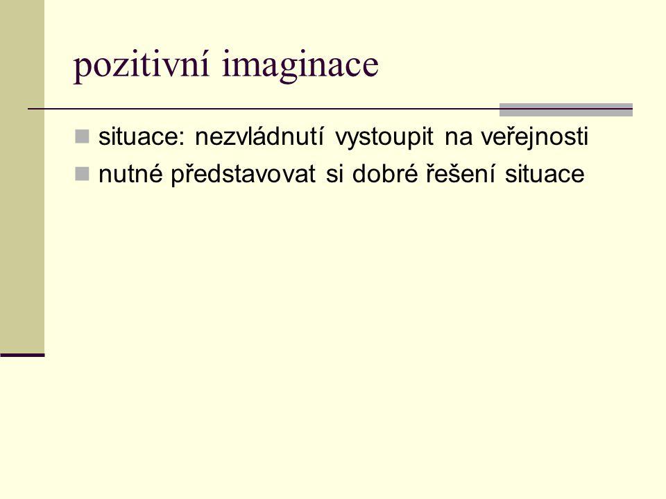 pozitivní imaginace situace: nezvládnutí vystoupit na veřejnosti nutné představovat si dobré řešení situace