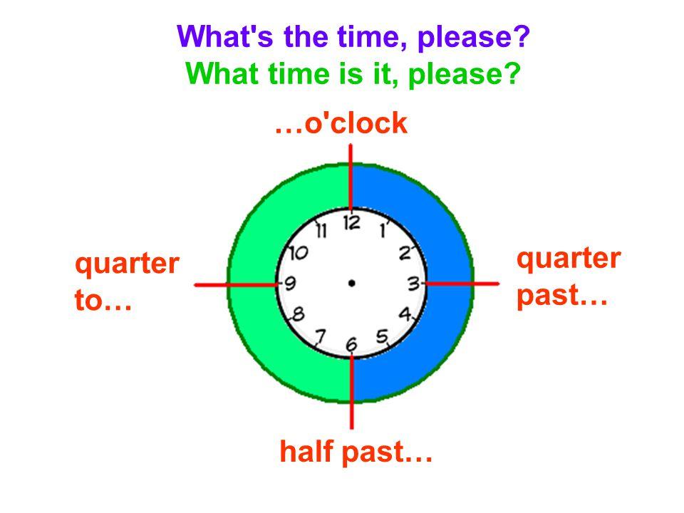 It s three o clock.It s five past four. It s ten past six.
