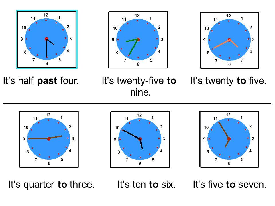 """Na čas se ptáme: """"What s the time, please? Odpovídáme dle situace: """"It s… Celé hodiny – O CLOCK 4:00 It s four o clock."""