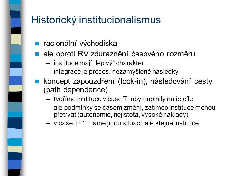"""Historický institucionalismus racionální východiska ale oproti RV zdůraznění časového rozměru –instituce mají """"lepivý"""" charakter –integrace je proces,"""
