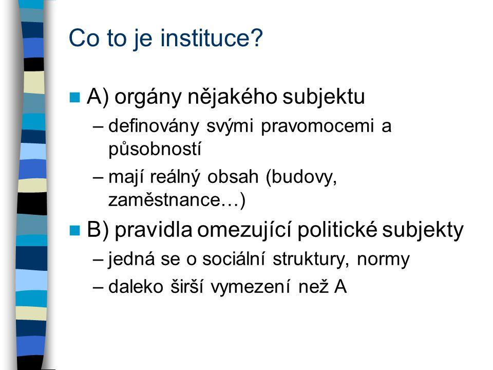 Co to je instituce? A) orgány nějakého subjektu –definovány svými pravomocemi a působností –mají reálný obsah (budovy, zaměstnance…) B) pravidla omezu