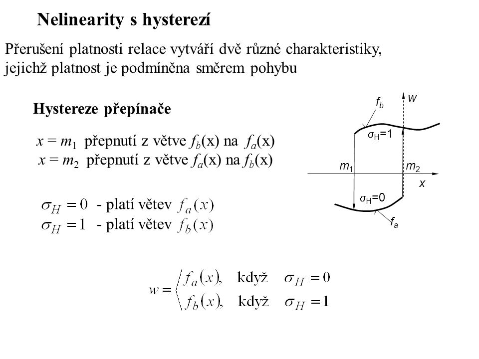 Nelinearity s hysterezí Přerušení platnosti relace vytváří dvě různé charakteristiky, jejichž platnost je podmíněna směrem pohybu Hystereze přepínače x = m 1 přepnutí z větve f b (x) na f a (x) x = m 2 přepnutí z větve f a (x) na f b (x) x w fafa fbfb m1m1 m2m2  H =1  H =0 - platí větev