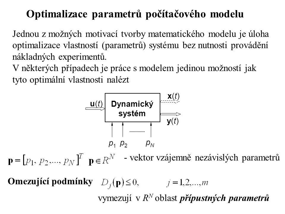 Kritérium optimality přiřazuje reálné číslo Q každé variantě chování modelu Integrální tvar kritéria q - vybraný ukazatel kvality T Q – doba simulace Dynamický systém x(t)x(t) q u(t)u(t) p2p2 pNpN Q kritérium optimality je dáno poslední hodnotou výstupu integrace pro t = T Q, t.j.