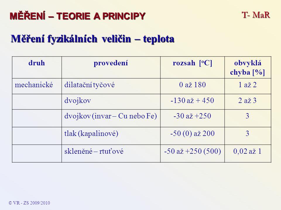 T- MaR MĚŘENÍ – TEORIE A PRINCIPY © VR - ZS 2009/2010 Měření fyzikálních veličin – teplota druhprovedenírozsah [ o C]obvyklá chyba [%] mechanickédilat