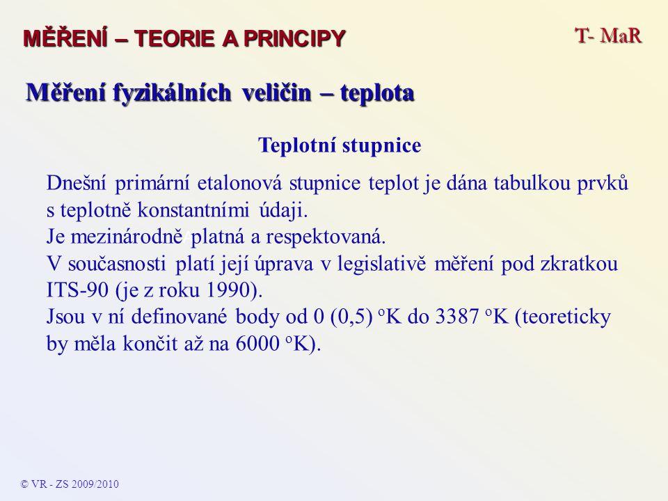 T- MaR MĚŘENÍ – TEORIE A PRINCIPY © VR - ZS 2009/2010 A Měření fyzikálních veličin – teplota Teplotní stupnice Dnešní primární etalonová stupnice tepl