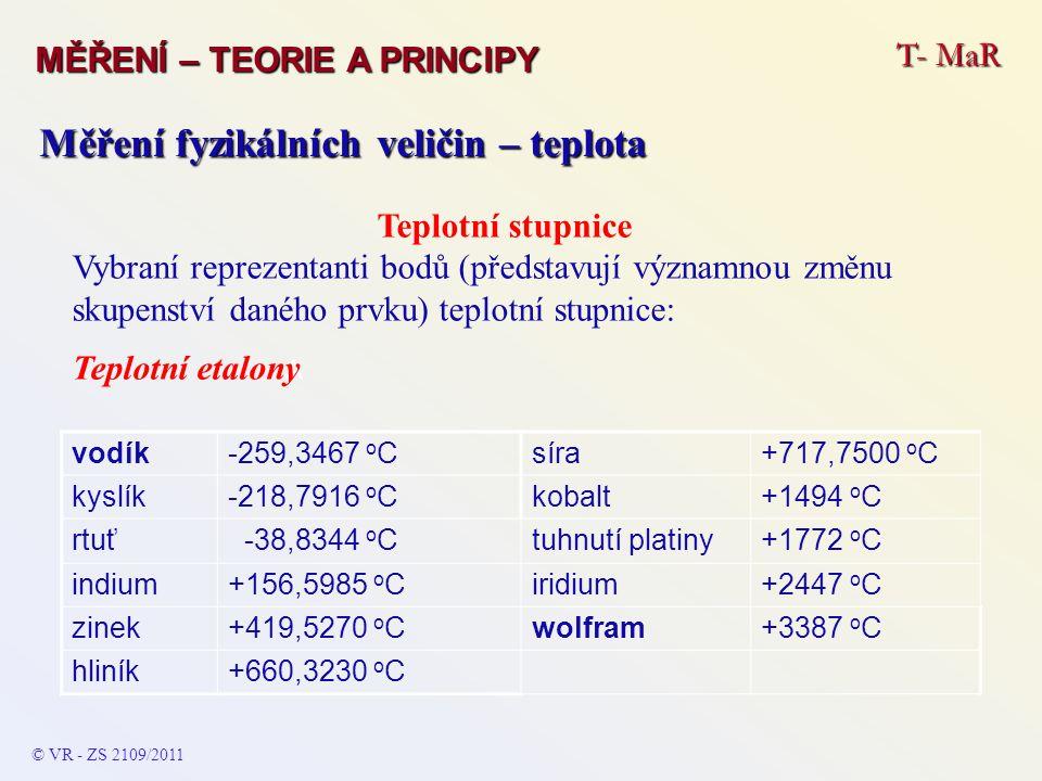 T- MaR MĚŘENÍ – TEORIE A PRINCIPY © VR - ZS 2109/2011 A Měření fyzikálních veličin – teplota Teplotní stupnice Vybraní reprezentanti bodů (představují