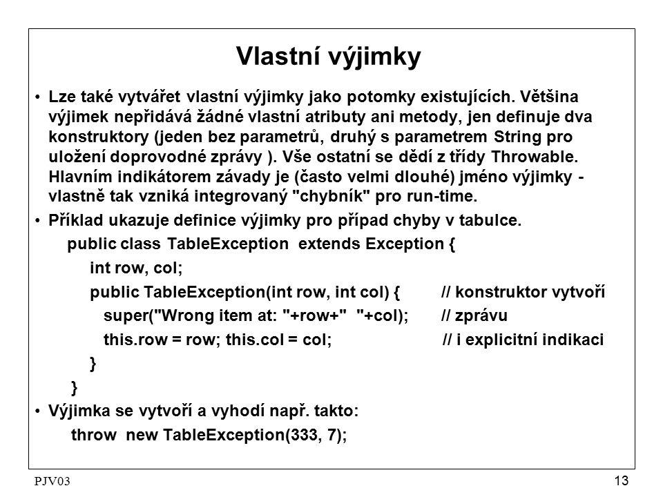 PJV0313 Vlastní výjimky Lze také vytvářet vlastní výjimky jako potomky existujících.