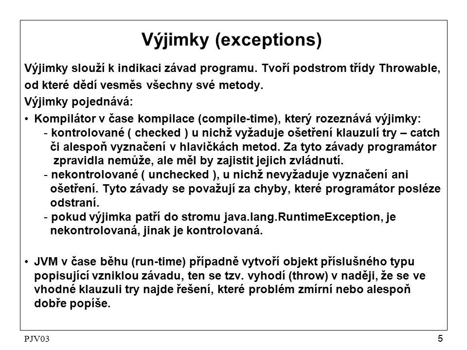 PJV036 Hierarchie výjimek java.lang.Object | |  --- java.lang.Throwable |  --- java.lang.Error | |  --- java.lang.VirtualMachineError | |  --- java.lang.Exception |  --- java.lang.RuntimeException | |  --- java.lang.ArithmeticException | |  --- java.lang.NullPointerException | |  --- java.lang.IndexOutOfBoundsException | |  --- java.io.IOException | |  --- java.net.SocketException | | |  --- java.net.ConnectException