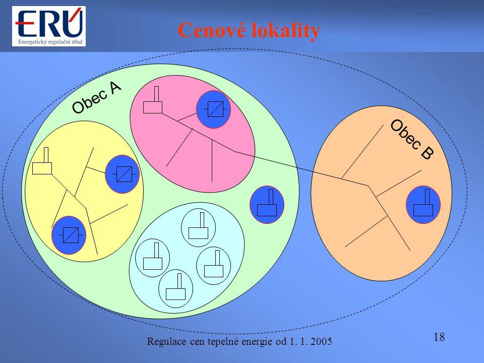 Regulace cen tepelné energie od 1. 1. 2005 18 Cenové lokality Obec A Obec B